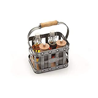 KitchenCraft Industrial Kitchen Vintage-Style Metal Condiment Holder with Wooden Handle, 23 x 15.5 x 28 cm (9