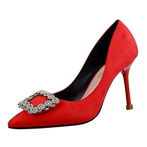 AalarDom Damen Rein Hoher Absatz Spitz Zehe Ziehen Auf Pumps Schuhe mit Wasser Diamanten Rot