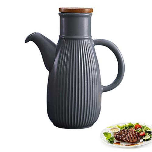 MAI&BAO Ölflasche Vintage Öl Flasche Keramik Öl & Essig Spender, Ölflasche küche Ölbehälter, Auslaufsicher Ausgießer Staubdicht, Sauce Cruet,Gray,450ML