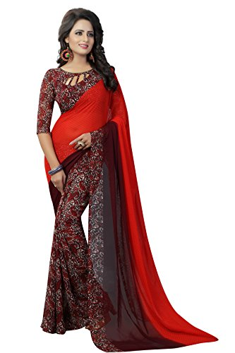 J B Fashion Women's Georgette red Saree With Blouse Piece