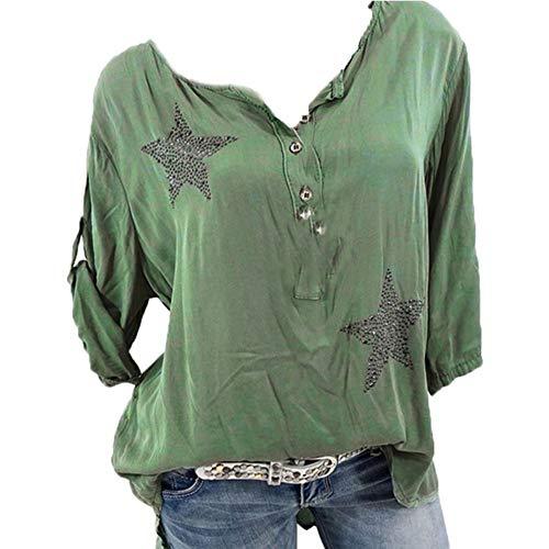 Bluse Damen Herbst Shirt Knopf Fünfzackigen Stern Hot Drill Tops Oberteil Langarm 3/4 Ärmel O-Ausschnitt Sweatshirt Langarmshirt Lose Hemd...