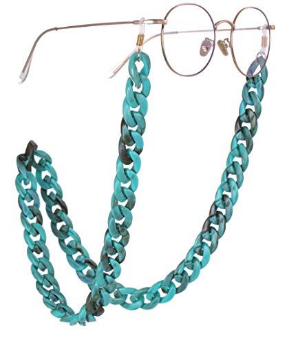 TEAMER Mode türkis Brillenkette böhmischen Acryl grobe Twist Sonnenbrille Gurt für Frauen (Gold mit Weißem Gummi)