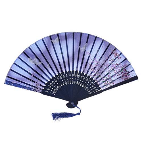 Handfächer Japanische Kirschblüten Handfächer Damen Bambusgriff Handfächer Wandfächer für Wanddekoration, Beste chinesische Art-Tanz-Hochzeitsfest-Spitze-Silk faltender Handblumen-Fan (Tragen Freunde Besten Die Zu Kostüme Für)