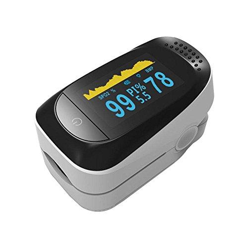 Pulsiossimetro per misurazioni accurate del'SP02, del battito cardiaco e il monitoraggio del sonno per 8 ore, per adulti e bambini White