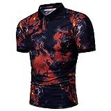 Herren Flamme Printing Poloshirt Modedruck Freizeit T Shirt Camouflage Rundhalsausschnitt Chic Männer Nner Casual Schlank Kurzarm Shirt (Color : Rot, Size : 3XL)