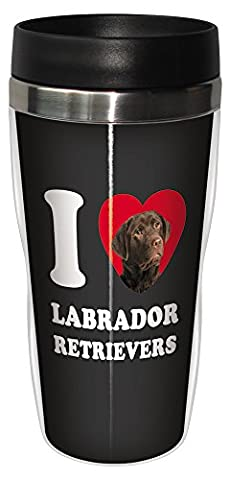 Sg25077 I Heart Labrador Retrievers Sip 'N Go Stainless Lined Travel Tumbler, 16-Ounce, Chocolate