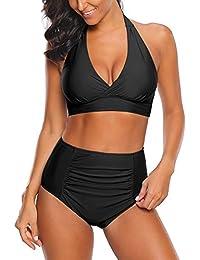 65b7cb23d59 Roskiki Women s Halter Tie Knot Swimsuit Bikini Set High Waist Ruched  Tankini Bottom
