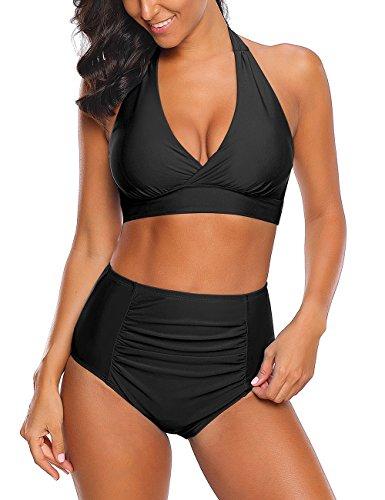 Roskiki Halter Bikinioberteil mit vorderseitigem Knoten, hoch taillierte Tankini Hose mit leichten Rüschen Schwarz Größe L