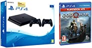 Sony PS4 1TB Slim Console with Additional Dualshock Controller (Black)&PS4 God of War (