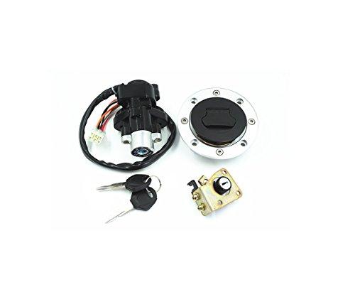 SKKMALL Neue Motorrad Seat Lock 2 Linie Zündschloss Kraftstoff Tankdeckel Schlüssel Für Suzuki GSXR600