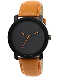 Snapcrowd New Attractive Stylish Latest Orange Thorns Black Dial Leather Strap Brown Analog Watch For Men & Boys