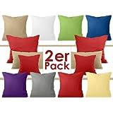 Doppelpack zum Sparpreis - Baumwoll-Kissenbezüge - moderne Wohndekoration in schlichtem Design - 8 modernen Uni-Farben und 3 Größen, 40 x 80 cm, blau