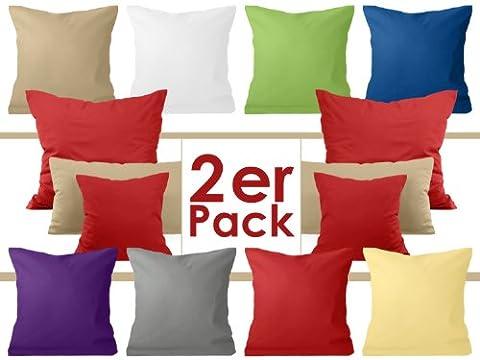 Doppelpack zum Sparpreis - Baumwoll-Kissenbezüge - moderne Wohndekoration in schlichtem Design - 8 modernen Uni-Farben und 3 Größen, 40 x 40 cm, grün