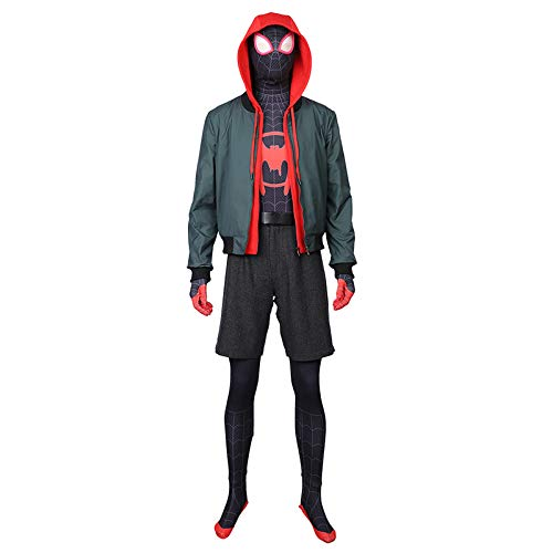Mann Kostüm Spider Custom - QWEASZER Spider-Man Into The Spider-Verse Miles Morales Enger Body Halloween Cosplay Verrücktes Kleid Party Kostüm Anime Film Performance Onesies,small Black Spider-Custom Size