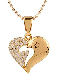 Ananth Jewels Heart Shaped Rose Gold Plated Pendant Necklace For Women - B073T452QB