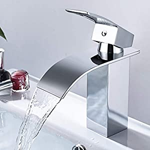 Wasserfall Wasserhahn, DALMO-DBWF01FA Waschtischarmatur, mit Geräuscharmem Keramischem Ventilkern, Heißes und Kaltes Wasser Vorhanden, Verchromt Messing, Waschbecken Wasserhahn Bad