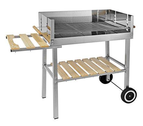 Jardinion Design Grillwagen, Edelstahl, rechteckige Fläche, Holzkohle Grill BBQ Standgrill