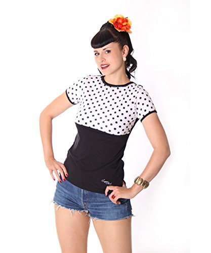 SugarShock Penny Pin Up 50s retro Polka Dots Rockabilly Puffärmel Shirt Rückenfrei -
