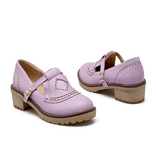 VogueZone009 Damen Rein Pu Leder Mittler Absatz Rund Zehe Schnalle Pumps Schuhe Lila