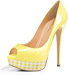 Caitlin Pan Donna Tacchi Alti Slip On Pompe Stiletti Piattaforma Peep Toe  Festa Sandali Dress Scarpe bbbb7b749b5