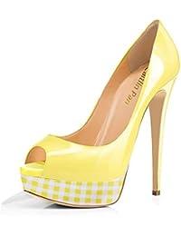 ddb9b4cee94 Caitlin Pan Femmes Escarpins Plateforme 15CM Escarpins Peep Toe 3CM Plateforme  Talon Chaussures Open Toe 35
