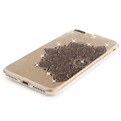 iPhone 7 Plus Hülle, Voguecase Bling Silikon Schutzhülle / Case / Cover / Hülle / TPU + PC Gel Skin für Apple iPhone 7 Plus 5.5(Diamant-Die Hälfte Blume) + Gratis Universal Eingabestift Diamant-Lace Teppich 07/Schwarz
