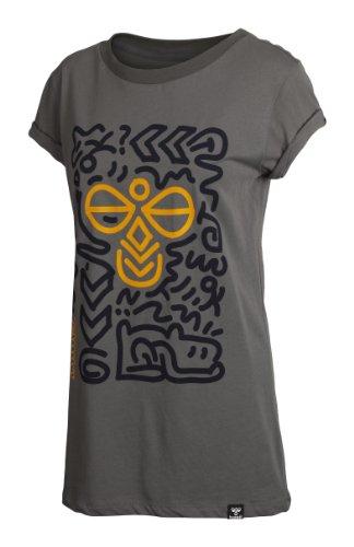 Hummel, T-shirt Donna Paula a maniche corte, Grigio (castle rock), XS