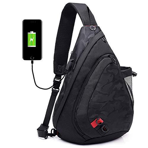 xy Sling Bag Umhängetasche Mit USB-Ladeanschluss Nylon Camouflage Brusttasche Männer und Frauen Leichte Wandern Freizeit Reiserucksack (Farbe : B)
