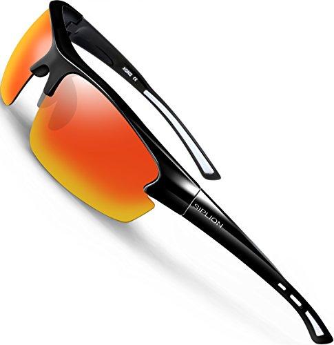 SIPLION Herren Sonnenbrille UV400 Schutz Polarisiert Superleichtes Rahmen 502 Rot