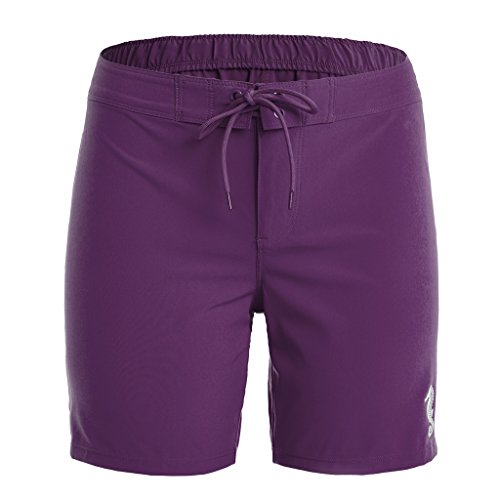 ALove Damen Kurze Hose / Boardshorts Mit Chic Schnürung Design Sporthose Violett 2XL Schnürung Design