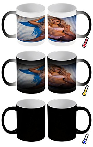 LEotiE SINCE 2004 Zaubertasse Farbwechseltasse Kaffeebecher Tasse Becher Latte Cappuccino Espresso Pin Up Erotik Blonder Engel