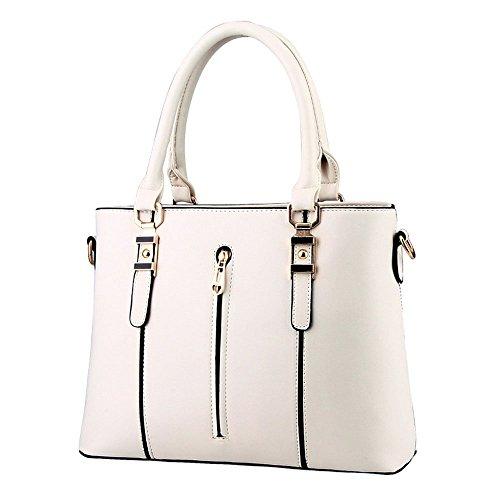 DELEY Moda Elegante Donna Cerniera Tote Borsa A Spalla Borsa A Tracolla Ufficio Valigetta Top Handle Bag Beige