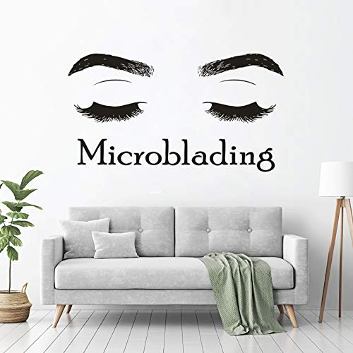 Yyoutop Microblading Logo Wand Vinyl Aufkleber Wimpernverlängerung Schaufenster Poster Frauen Augenbrauen Wimpern Bilden Künstler Shop Wandkunst 1 104x57 cm -