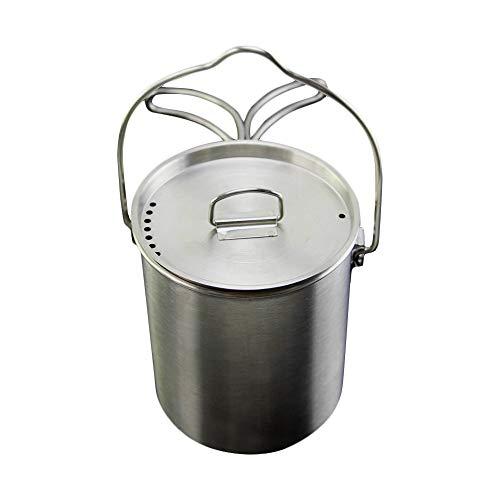 Singeru Camping Tasse Edelstahl Kochgeschirr Mug 750ml faltbar Camping Becher mit Deckel Klappgriffe und Innen Messmarken