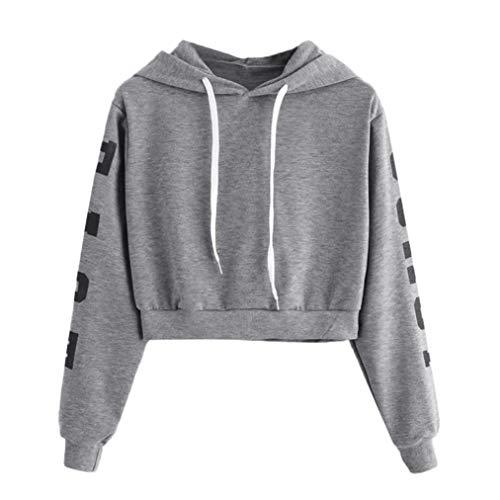 TWIFER Damen Buchstaben Langarmshirt Hoodie Crop Pullover Tops -