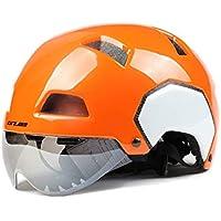 MIRACLEM Electric Car Personality Helmet/Hombres Y Mujeres Bicicleta Casco De Seguridad De La Motocicleta con Gafas,Whitebrightorange,L