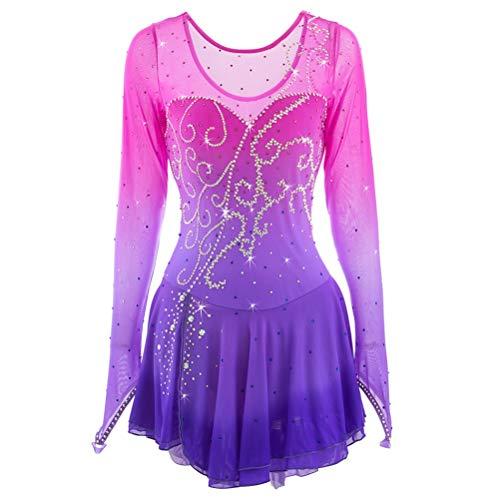YunNR Klassischer Rundhals Eiskunstlaufkleid für Mädchen, Frauen Mode Lila Farbverlauf Professionel Eislauf Wettbewerb Kostüm Strass, ()