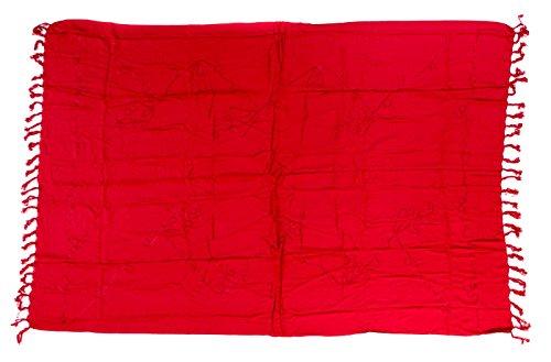 Sarong Handbestickt inkl. Sarongschnalle im Raute Design - Viele Größen und exotische Farben und Muster zur Auswahl - Pareo Dhoti Lunghi Stickerei Rot 2