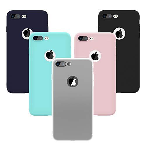 Yokata für iPhone 7 Plus/iPhone 8 Plus Hülle Handyhülle Schutzhülle, Matte Weich Silikon Case TPU Slim Dünn Soft Flexibel Kratzfest Stoßfest 5 Pack - Grün, Transparent, Schwarz, Navy blau, Rosa