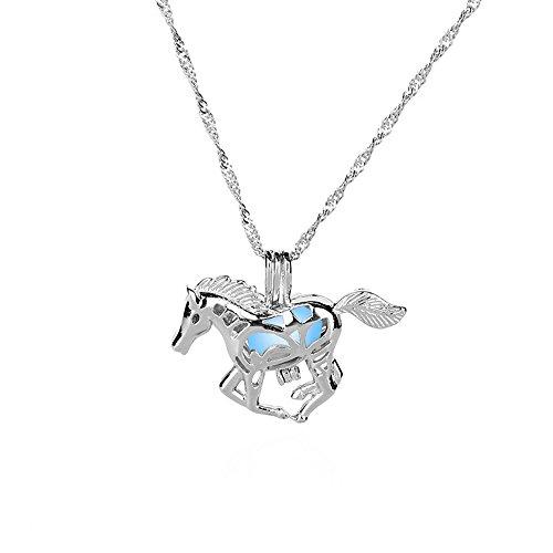 Damen Tier Schmuck Pferd/Einhorn Kette Silber Halskette Hohl Nachtleuchtend Anhänger Geschenke für Mädchen