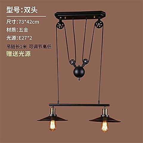 ADAMANCY Restaurante Continental poco araña araña lámpara de mesa tienda de ropa balcón porche salón dormitorio lámparas colgantes, candelabros de hierro dual head, 73*42cm.