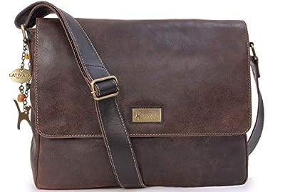 Catwalk Collection Handbags - Cuir Vintage Texture - Grand Sac Bandoulière/Besace/Sac Porté Croisé/Messenger pour Ordinateur Portable/iPad/Tablettes - Femme - SABINE L
