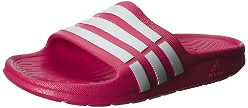 adidas Unisex Duramo Slide K Pink, White and Pink Rubber Flip-Flops and House Slippers  - 2 UK/India (34 EU)