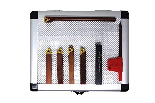 PAULIMOT Drehmeißel-Set mit Wendeplatten, 8 mm, 5-teilig inkl. Bohrstange Ø 6 mm