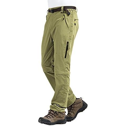 Tofern Uomo Asciugatura Rapida Zip Off Convertibile Carico Trekking Calzoni Pantaloncini, beige, L