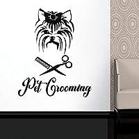 Pet Grooming Pet Shop Room Window Vinyl Sticker Dog Comb Scissors Decoration Animal Salon Care Decor 42X51cm