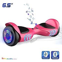 """Hoverboards Patinete Eléctrico de 6.5"""" Pulgadas-Scooter con LED, y Bluetooth (Rosa)"""