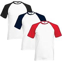 0e55a2c417 Fruit of the Loom de Hombre Pack de 3 Camisetas de béisbol Blanco Blanco  Small