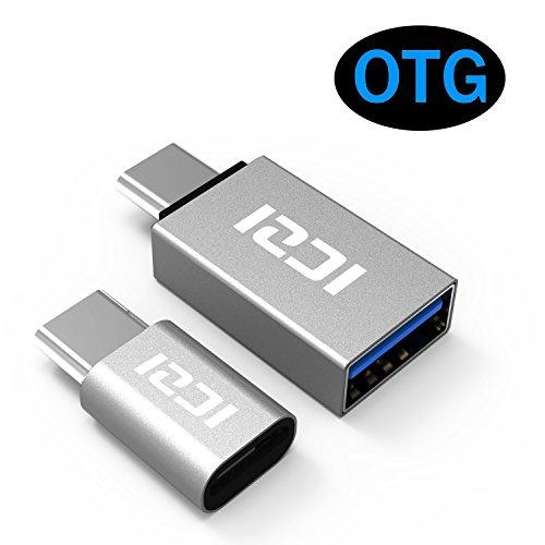 ICZI USB C auf Micro USB Adapter & auf USB 3.0 Adapter (2 in 1 Pack) mit OTG aus Aluminium für Samsung galaxy S8/ S8+, Nintendo Switch, MacBook Pro, MacBook usw. (Silber) (Mikro-drucker)