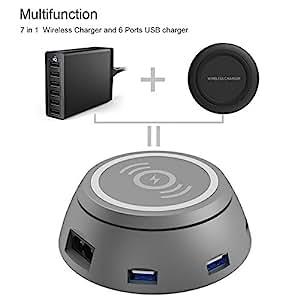 chargeur induction qi chargeur sans fil et usb chargeur secteur multiple 6 ports multifonction. Black Bedroom Furniture Sets. Home Design Ideas